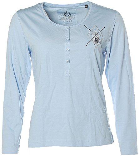 Kitaro - Camiseta de manga larga - Cuello redondo - Manga Larga - para mujer Cielo Azul