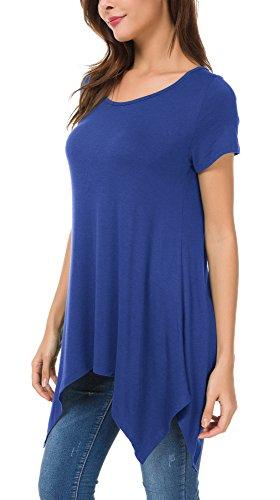 Tunica Donna Casual Urban Shirt Camicia T Tops Orlo GoCo Comoda Reale Basic Maglietta Irregolare Blu 5qtaqwEAg