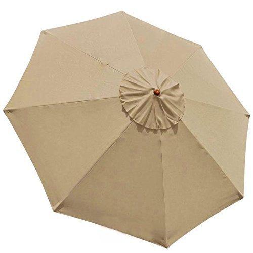 Global Wood Shade (9 Foot Patio Furniture Wood Market Umbrella Tan)