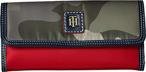 (Tommy Hilfiger Women's Julia Large Flap Wallet Green One Size)