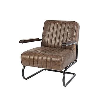 Qazqa Vintage Armchair Weathered Teak Brown Leather Cito