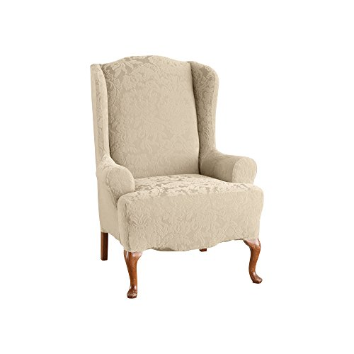 Sure Fit Stretch Jacquard Damask - Wing Chair Slipcover  - Oyster (Damask Polyester Slipcover)