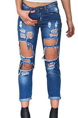 Chic Bottoni Yasminey Risvolto Scuro Alta Blu Donna Giovane Tasche Elasticizzato Con Da Vita A Frontali Skinny Pantaloni PwqrxzPT