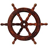 Nautical Ship Wheel with Wooden Centre