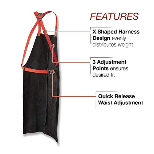 Lincoln Electric Leather Welding Apron | 42'' Length | Adjustable Fit | Black |K3110-ALL by Lincoln Electric (Image #2)