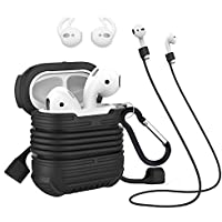 Protective Case Compatible for Apple Airpods Silicone Case Water Proof Shock Resistance Protective Cover Replacement for AirPods Charging Case (Black)