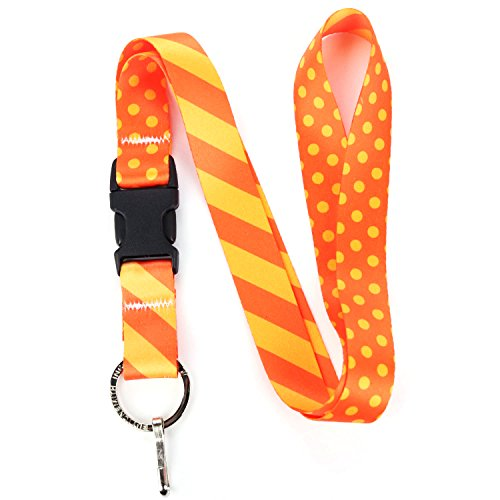 Buttonsmith Orange Dots Premium Lanyard with Buckle and Flat Ring - Made in the (Dot Buckle)
