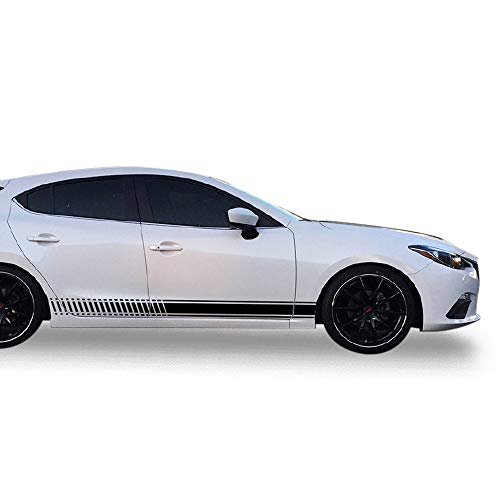 Bubbles Designs Decal Sticker Vinyl Side Sport Stripe Body Kit Compatible with Mazda 3 2013-2017 (Black)