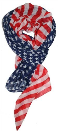 LibbySue-Red, White and Blue, Patriotic American Flag Scarf (Stars & Stripes) - Flag Scarf