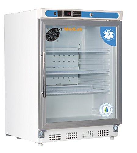 am-1 AM-LAB-UC-RGP-04 Undercounter Medical/Laboratory Refrigerator, MedLab Premium Glass Door 4.6 cu. ft,33.4