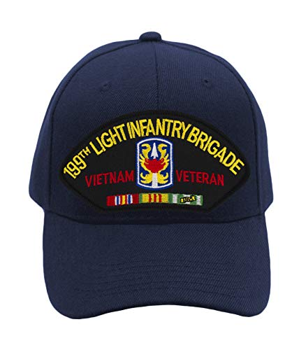 (199th Light Infantry Brigade - Vietnam Hat/Ballcap Adjustable One Size Fits Most (Navy Blue, Standard (No Flag)))
