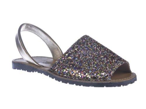 Sandalias Menorquinas en Glitter, Todo Piel mod.204. Calzado Made in Spain, Garantia de calidad. Multicolor