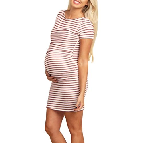 SanCanSn Maternity Fashion Dress Womens Pregnant O Neck Stripe Short Sleeve Nursing Dress(M,Red)