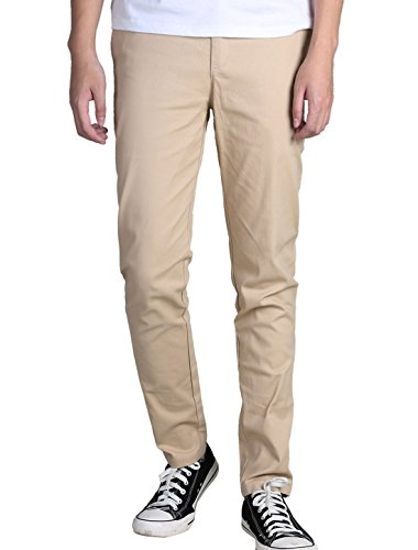Uxcell Allegra K Hommes Poches Latérales Classiques Coton Avant Plat Mince Conique Pantalon Décontracté Beige