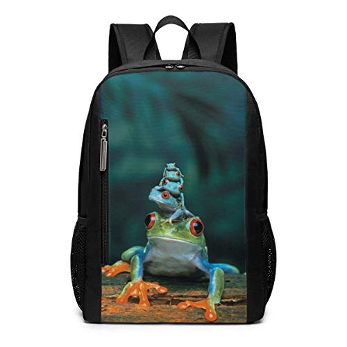 (Rainforest Family Frogs Unique Outdoor Shoulders Bag Fabric Backpack Multipurpose Daypacks For Adult Kids)