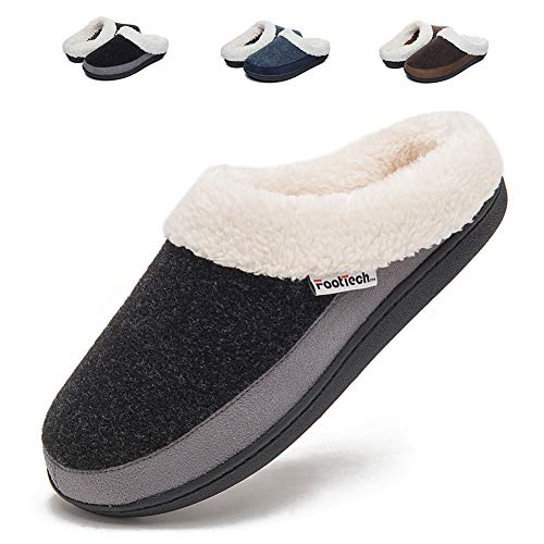 Womens Clog House Slippers Memory Foam Anti-Slip Indoor Shoes for Winter(7-8, Black/Grey)