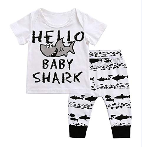 Newborn Baby Boys Girls Summer Clothing Set Shark Baby Letters Print Layette Set Tops T-Shirt+ Pants Outfit (0-6 Months, White top+ Pants Set)