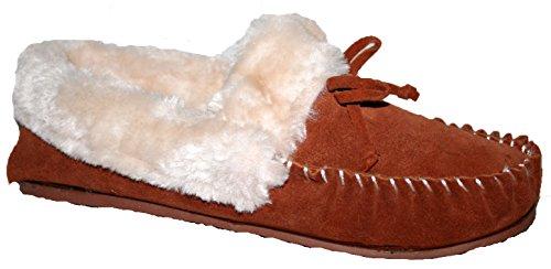 Señoras Zapato de Piel Tipo Mocasín de ante con lazo delantero canela
