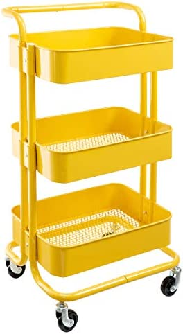 HollyHOME 3-Tier Metal Utility Service Cart Rolling Storage Shelves with Handles, Yellow Storage Utility Cart