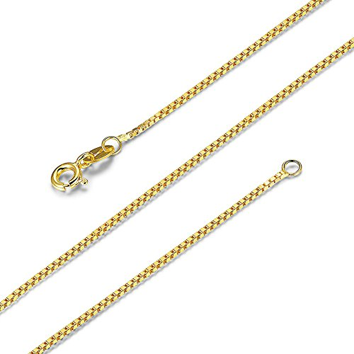 SWOPAN 18K Gold Plated over 925 Sterling Silver 0.8MM Italian Box Chain Necklace Super Thin Lightweight Strong with S925 Stamp - Spring Ring Clasp - 16