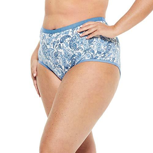 Comfort Choice Women's Plus Size 5-Pack Stretch Cotton Full-Cut Brief - Blue Plaid Paisley Pack, 13