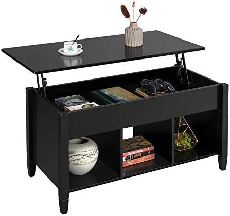 YAHEETECH Modern Wood Rectangle Lift Top Coffee Table w/Hidden Compartment 3 Cube Open Shelves