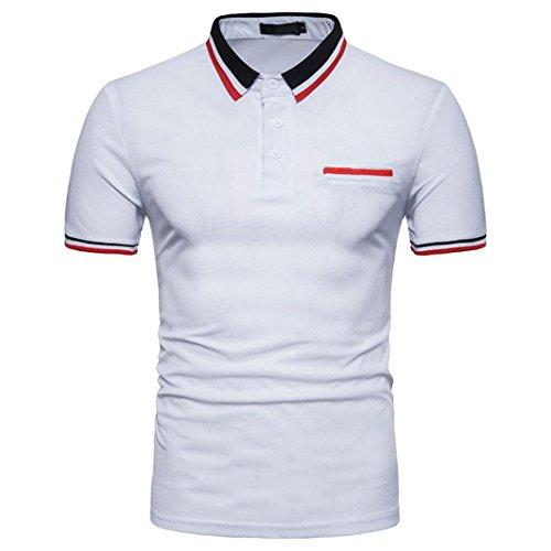 G&Kshop Men's Polo Shirt,Short Sleeve T-Shirt Striped Decor Polo Stretch Slim Fit Tops (M, White)