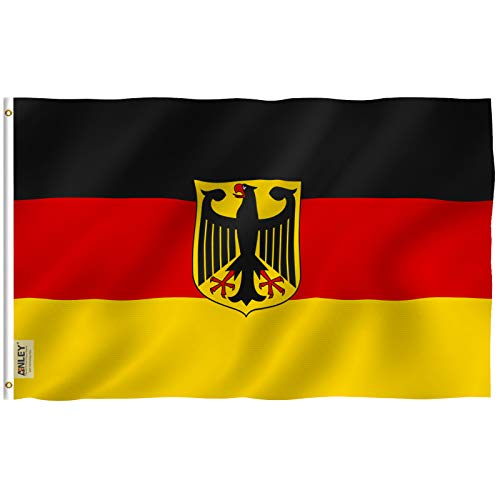 Flag Eagle Polyester - Anley Fly Breeze 3x5 Foot German State Ensign Flag - Vivid Color and UV Fade Resistant - Canvas Header and Double Stitched - Germany Eagle Flags Polyester with Brass Grommets 3 X 5 Ft