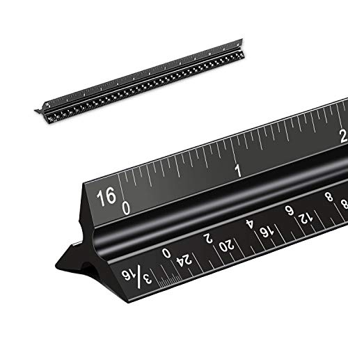 Architectural Scale Ruler, Laser-Etched Solid Aluminum Architects Scale Black for Blueprint, 12 Triangular Architect Scale for Architects, Students, Draftsman, and Engineers (Imperial Measurements)