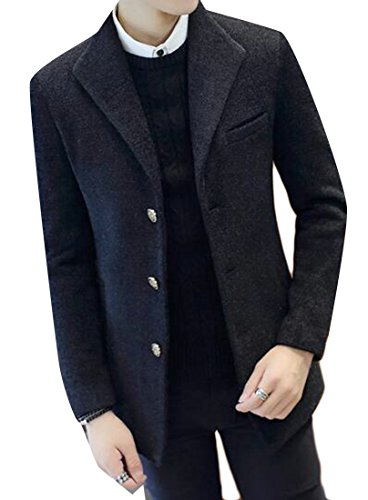 Three today Mens Long Sleeve Lapel Blend Wool Jacket Button Black UK 5fUHfqxr0