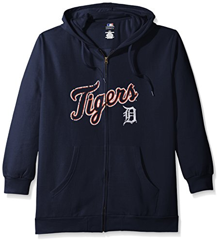 omen's Team Full Zip Fleece Hoodie with Distress Word Mark on Chest, 1X, Navy (Wordmark Full Zip Hoodie)