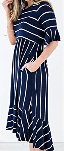 1 Sleeve Womens A Scoop Striped Jaycargogo Neck Dresses Short Line Hem Frill g6wqdPI
