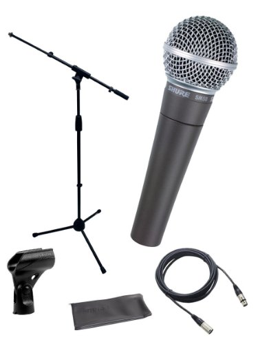 (Shure SM58-LC Cardioid Dynamic Vocal Microphone Bundle with Stand Adapter and Zippered Pouch)