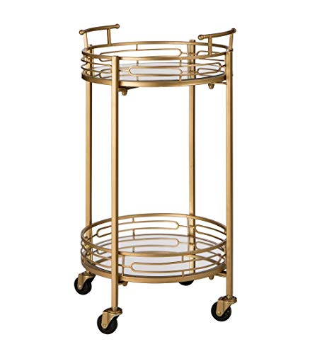 Glitzhome 2-Tier Deluxe Metal Bar Cart Round Mirrored Glass Top Serving Cart, Gold, 27