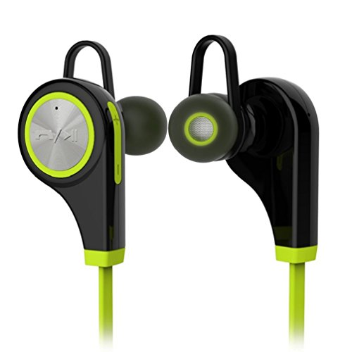Bluetooth Headphones, CY Wireless Bluetooth Earbuds Headset Earphones Noise Cancelling,Running, Exercise,Hiking Sports;Sweatproof. Suitable for IOS & Android Devices(Green) (Boss Wireless Headphones With Mic)