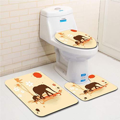 MTSJTliangwan Family Bathroom Set of 3, Bathroom Rug + Contour pad + lid Toilet seat Elephant,Mother and Baby Elephants in Tropical Lands Desert Print of Safari Kids,Orange Brown Cream Flannel Carpet -