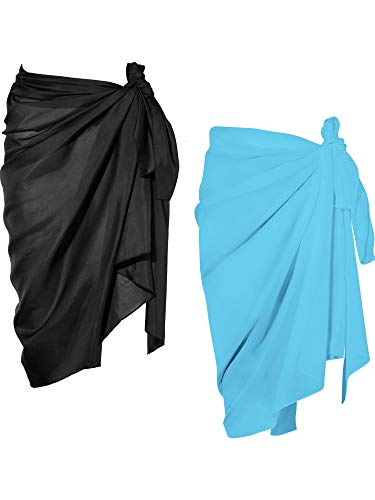 Chuangdi 2 Pieces Women Beach Wrap Sarong Cover Up Chiffon Swimsuit Wrap Skirts (Black and Light Blue, Long A)
