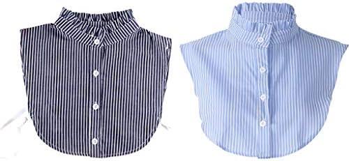 ruiruiNIE Mujeres Desmontables Dickey Falso Falso Cuello con Volantes a Rayas Camisa Ropa Accesorios: Amazon.es: Hogar