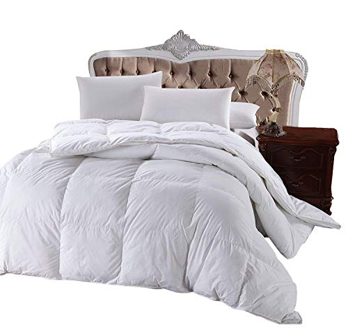 Royal Hotel's 300 Thread Count King Size Goose Down Alternative Comforter 100% Cotton 300 TC - 750FP - 86Oz - Solid White