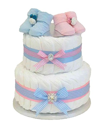 Firma dos Tier 2 – tarta de pañales/Twin Boy Girl regalo/Twin/