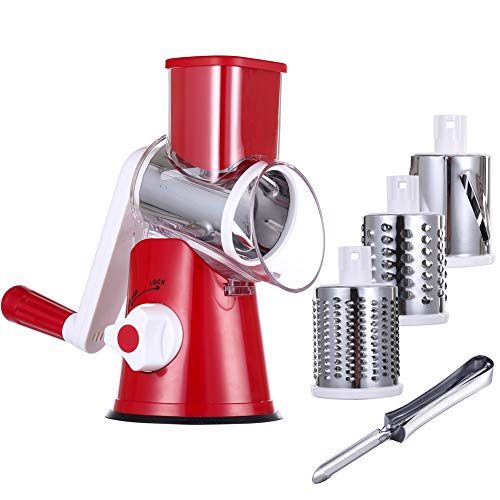 KEOUKE Cheese Grater Handheld - Nut Chopper Grinder Salad Shooter Vegetable Slicer with a Stainless Steel peeler (Red)