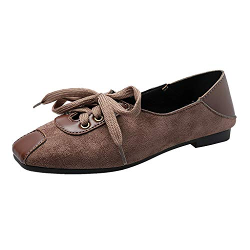 Women's Slip-On Flats Driving Loafers Comfort Suede Lace Up Round Toe Peas Shoes Ballet Dress Shoes Moccasins (US:5.5, Khaki)