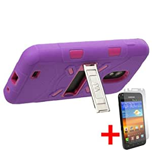 SAMSUNG GALAXY S2 EPIC TOUCH D710 PURPLE PINK HYBRID METAL KICKSTAND COVER HARD GEL CASE +FREE SCREEN PROTECTOR from [ACCESSORY ARENA]