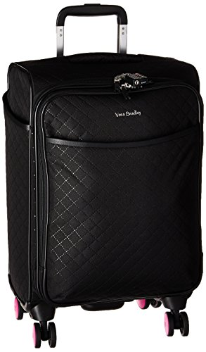 Vera Bradley Rolling Luggage - Vera Bradley Iconic Small Spinner Suitcase, Microfiber, Classic Black