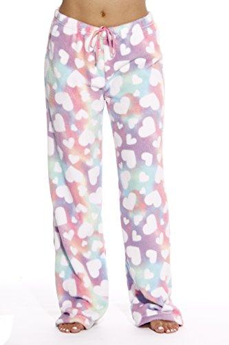 Fleece Heart Pants Pajama (6339-10171-S Just Love Women's Plush Pajama Pants - Petite to Plus Size Pajamas,Rainbow Hearts,Small)