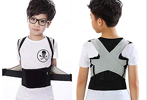 (Back Brace/Shoulder Posture Corrector/Fully Adjustable Support Belt/for Kids/Children,Teenager and Adult/Gray-Black,Waist Size 20