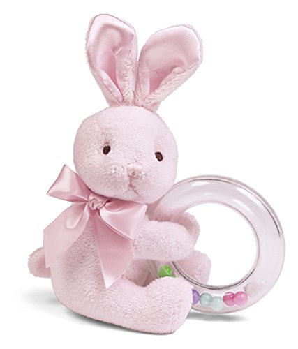 Bearington Baby Cottontail Plush Stuffed Animal Pink Bunny Shaker Toy Ring Rattle, 5.5