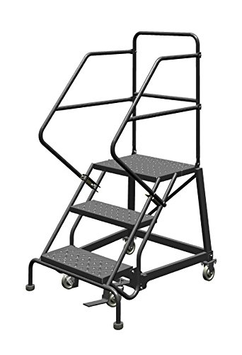 Tri-Arc KDEC103246 3-Step Forward Descent Safety Angle Steel Rolling Industrial and Warehouse Ladder with Perforated Tread, 24