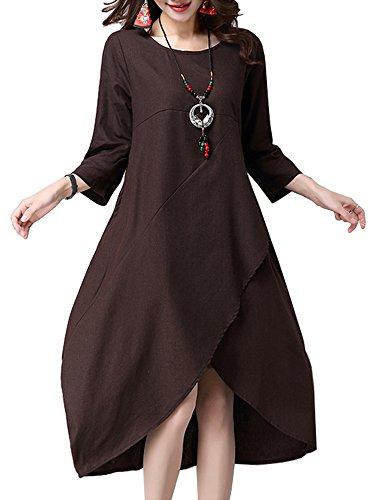 Femmes Vintage Patchwork Solide Robe De Lin En Coton Ourlet Irrégulier Violet Taille Xl