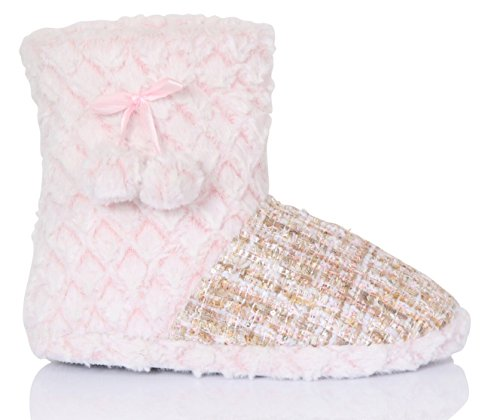Ladies Metallic Textured Slipper Boot Cream/Pink